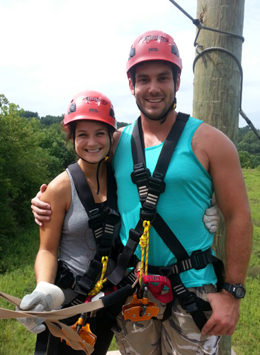 Photo of Erin and boyfriend in zipline gear