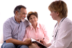 Photo of clinician with patients