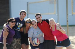 nuhs students playing volleyball