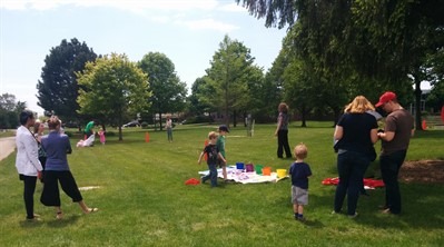 local families at picnic on campus