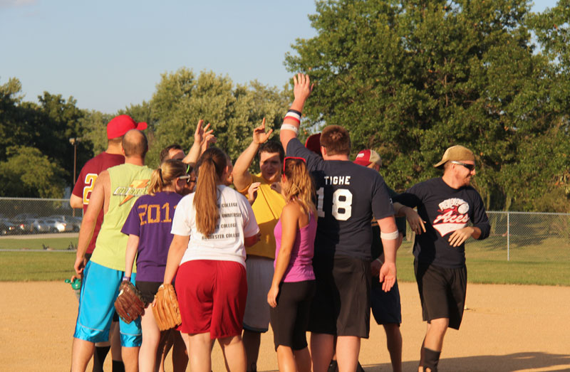 NUHS students playing in softball game
