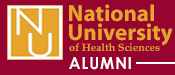 NUHS alumni bad red and gold